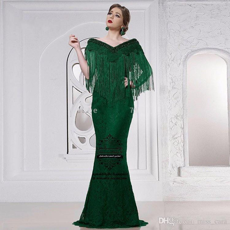 Formal Emerald Green Evening Dresses Mermaid Tassel Turkish Arabic Lace Prom Gowns Dresses Abendkleider Party Dress for Women
