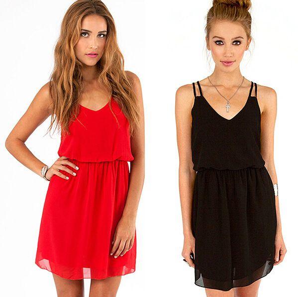 Großhandel Mode Sommer Mini Kleider Sexy Sleeveless Günstige Plus Size  Frauen Short Schwarz Chiffon Kleid Rock Casual Club Abendgesellschaft Kleid  B103 Von ... d8be07810c