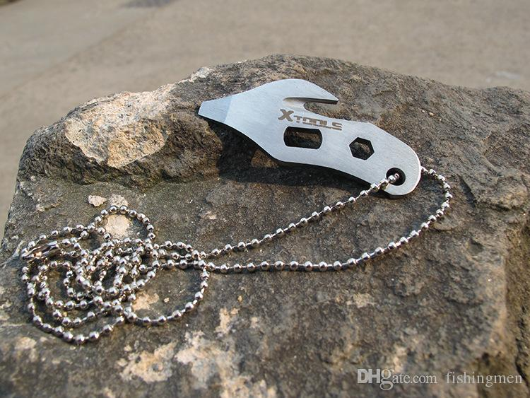 Outdoor EDC portable multifunction gadget survival tool rope cutter tool chain feeding bottle opener camping