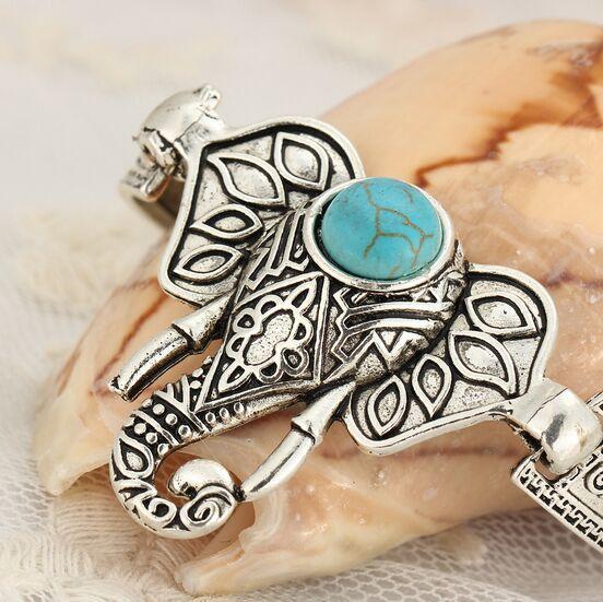Donne Bohemian Retro Vintage Silver Turquoise Owl Fatima Elephant Tortoise Charm Bracciali Bangles le donne Gioielli di moda personalizzati