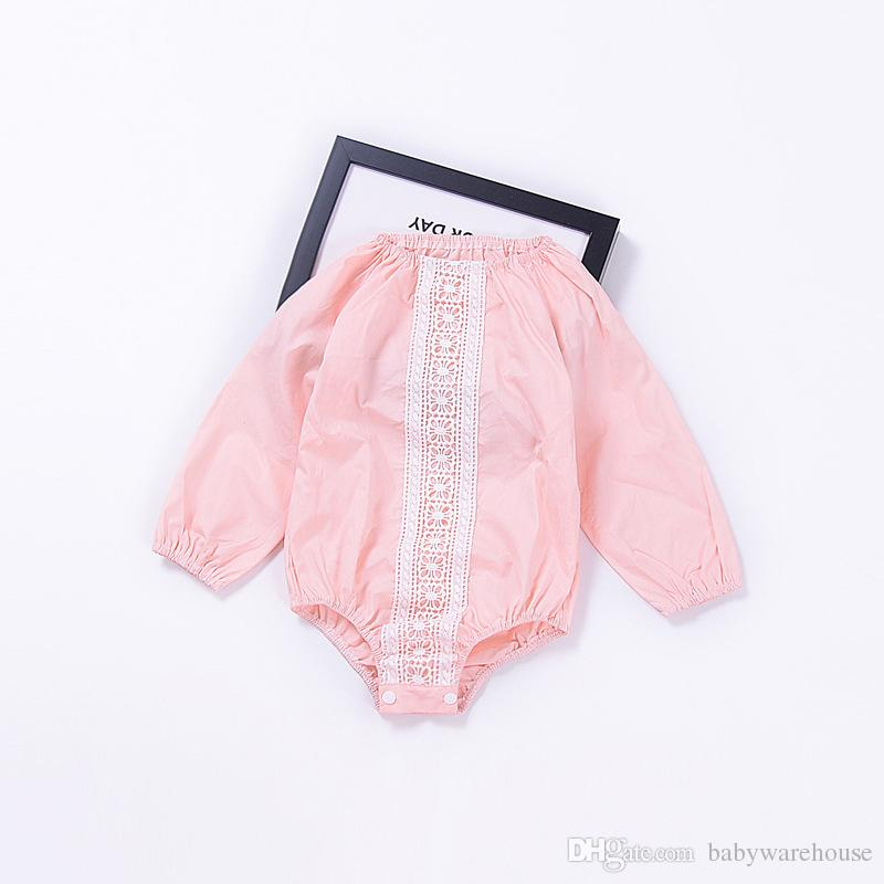 89a00f3e2b78 2019 Baby Girls Romper 2018 New Kids Clothing Pink Knitting Lace Flower  Long Sleeve Rompers Jumpsuit Playsuit Sunsuit Toddler Girls Clothes 0 24M  From ...