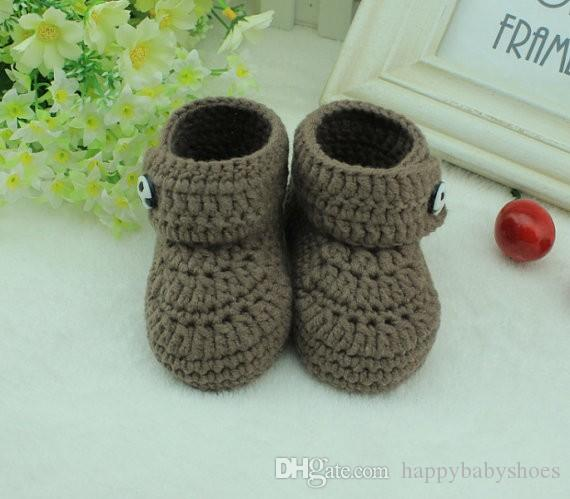 Handmade brown Crochet Baby Booties kids cute handmade baby Boots shoes for 0-12months custom
