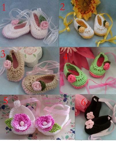 2015 Crochet Cotton Baby Booties zapatos hechos a mano niño zapatos, zapatos shippinng gratis infantil, algodón hilado suave 0-12M algodón