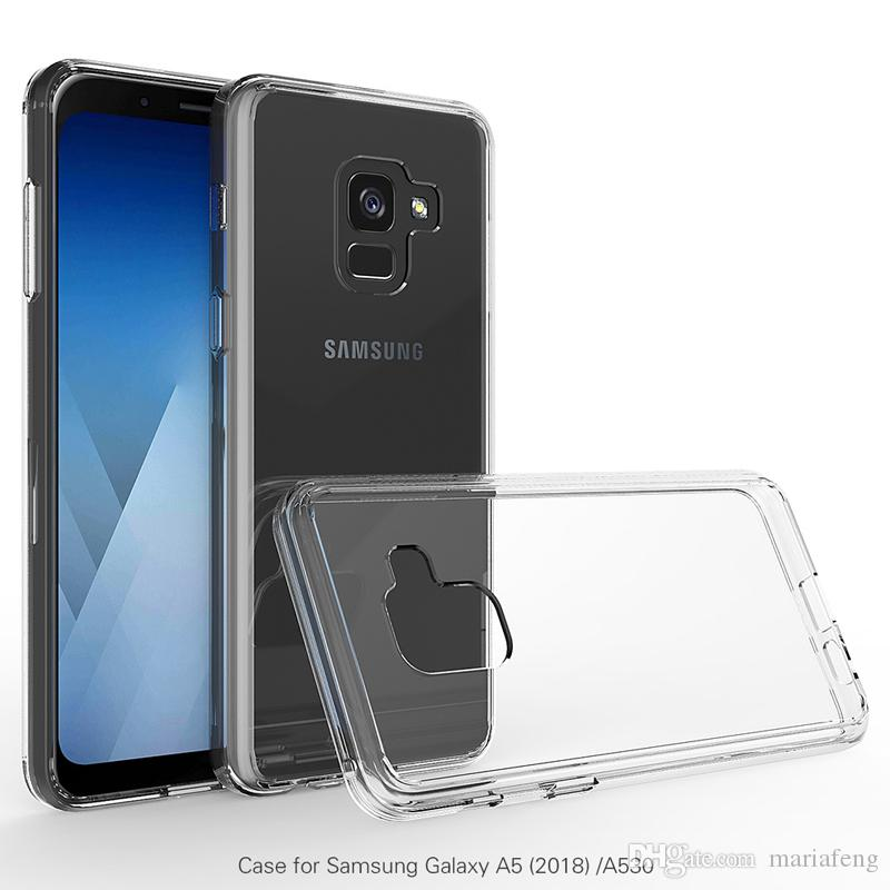 For samsung A5 2018 clear Transparent Bumper Ultra Thin soft TPU hard PC Acrylic Back Cover Case