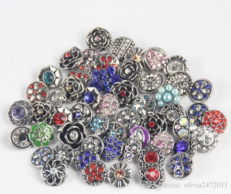 trozos de botón a presión joyería Mezclar muchos estilos 18mm botón a presión de metal encanto Rhinestone estilos botón jengibre Snaps joyería qn