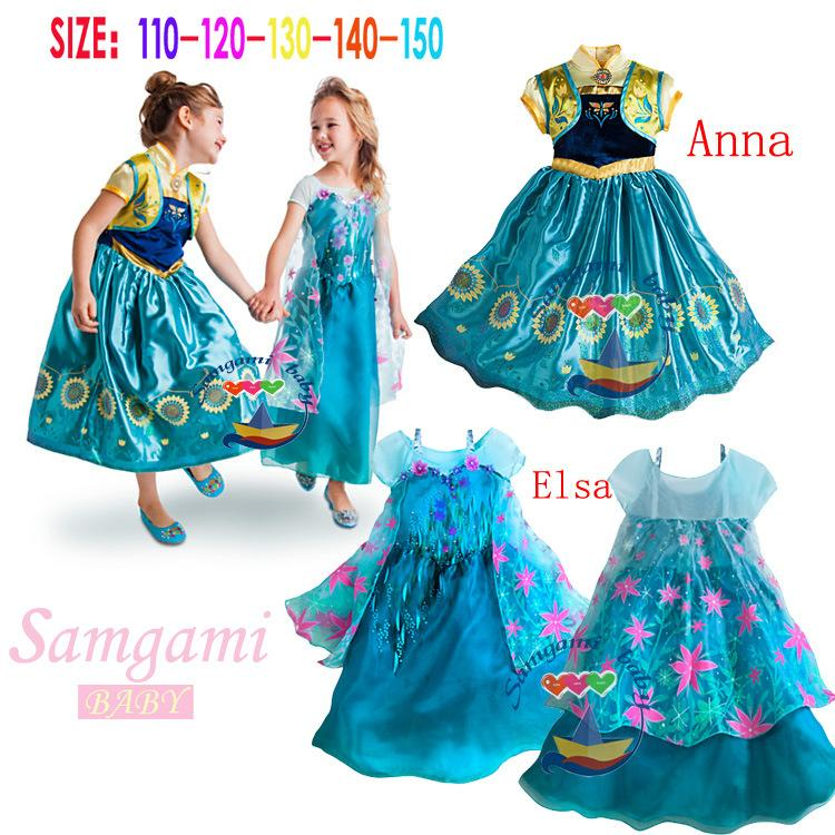 Kids Cosplay Costume Dress Cinderella Elsa Baby Girls: Frozen Fever Children Summer Anna Elsa Dress Cinderella