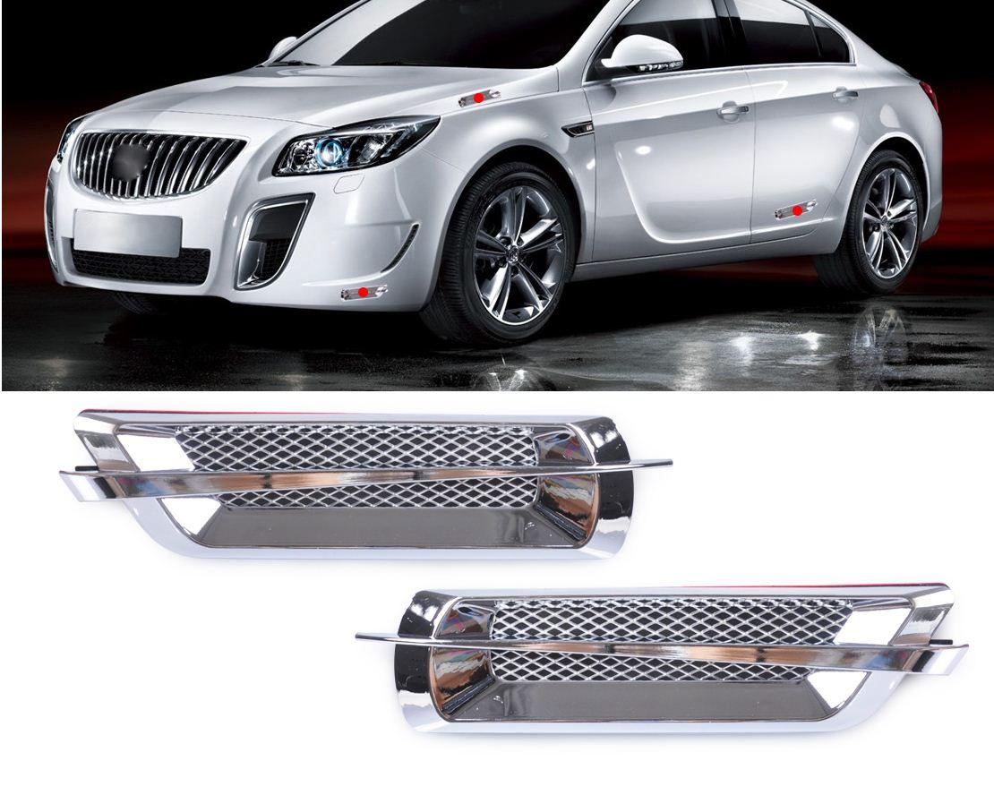 2Pcs Chrome Car Side Air Vent Fender Cover Hole Intake Duct Flow Grille Decoration Sticker