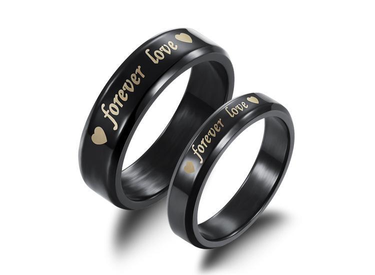 GIOIELLI Black Fashion Stainless Steel Women / Men Anello Forever Love Heart Coppia anello New Personality Cool accessorio GJ183