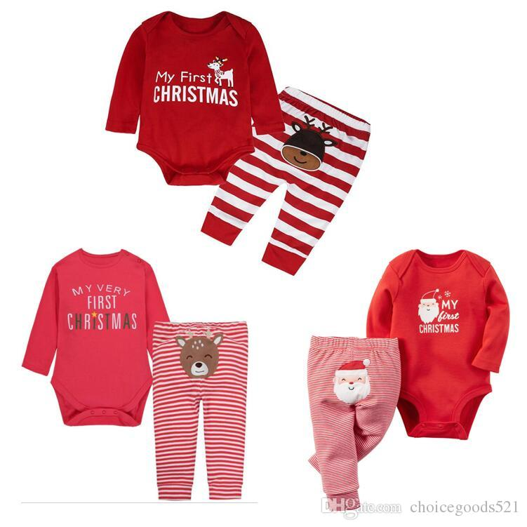 c5e2af8583d 2019 Baby Christmas Romper Suit Santa Elk Sets Long Sleeve Romper+Striped  Pants Infants Xmas Pajama Sets Baby Festivals Gifts From Choicegoods521