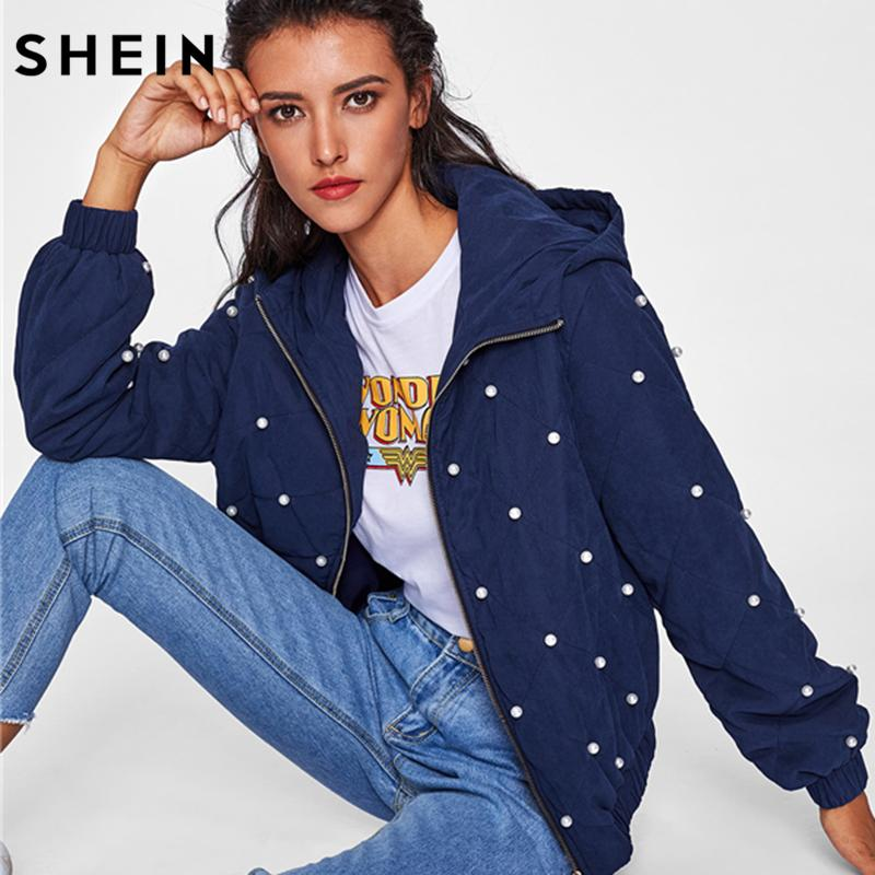 eac256563b Wholesale- SHEIN Autumn Jacket for Women Pearl Beading Quilted Hooded Jacket  Navy Casual Zipper Women Fall Jackets And Coats Women Fall Jacket Autumn  Jacket ...