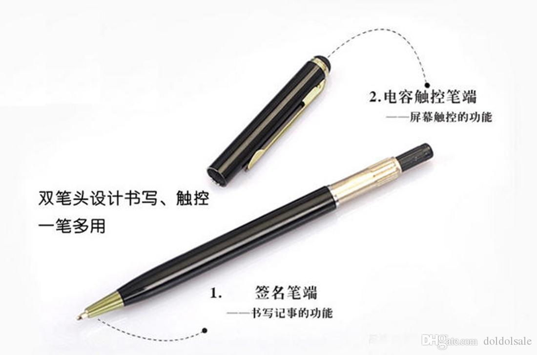 High Sensitive 2 in 1 Capacitive Touch Stylus Pen with Gel ink Ballpoint Pen for Cell Phone Samsung iPhone HTC Sony Tablet Laptop GPS