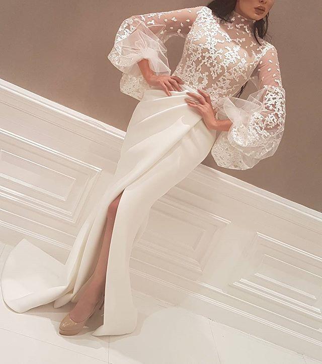Formal Evening Dresses Wear Long Front Split Party Prom Gowns Yousef aljasmi Labourjoisie Illusion Bodies Celebrity Dresses Arabic Lace