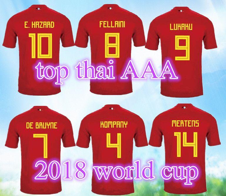 73a2a1155 2019 2017 2018 Belgium Home Jerseys Top Thailand Quality LUKAKU FELLAINI E.HAZARD  KOMPANY DE BRUYNE Soccer Jersey 17 18 Belgium Football Shirt From ...