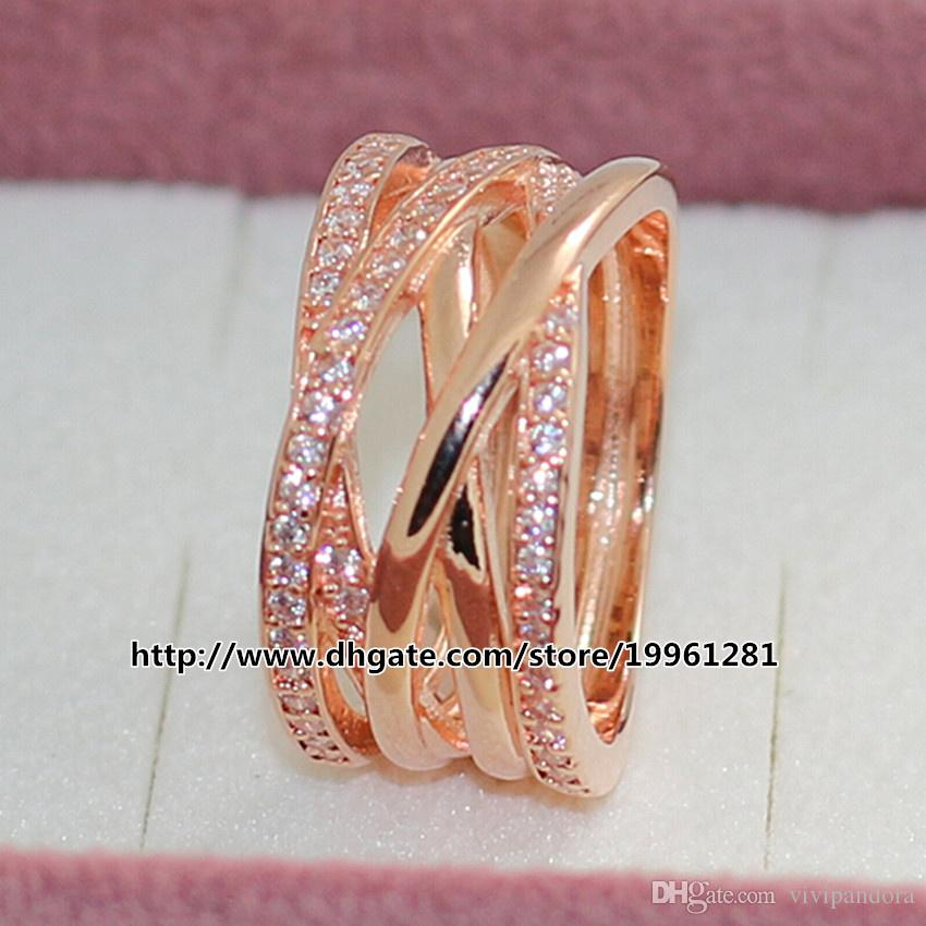 20e924ba2 ... 925 Sterling Silver Rose Gold Plated Charm Entwined Ring with Clear CZ  European Pandora Style Fashion ...