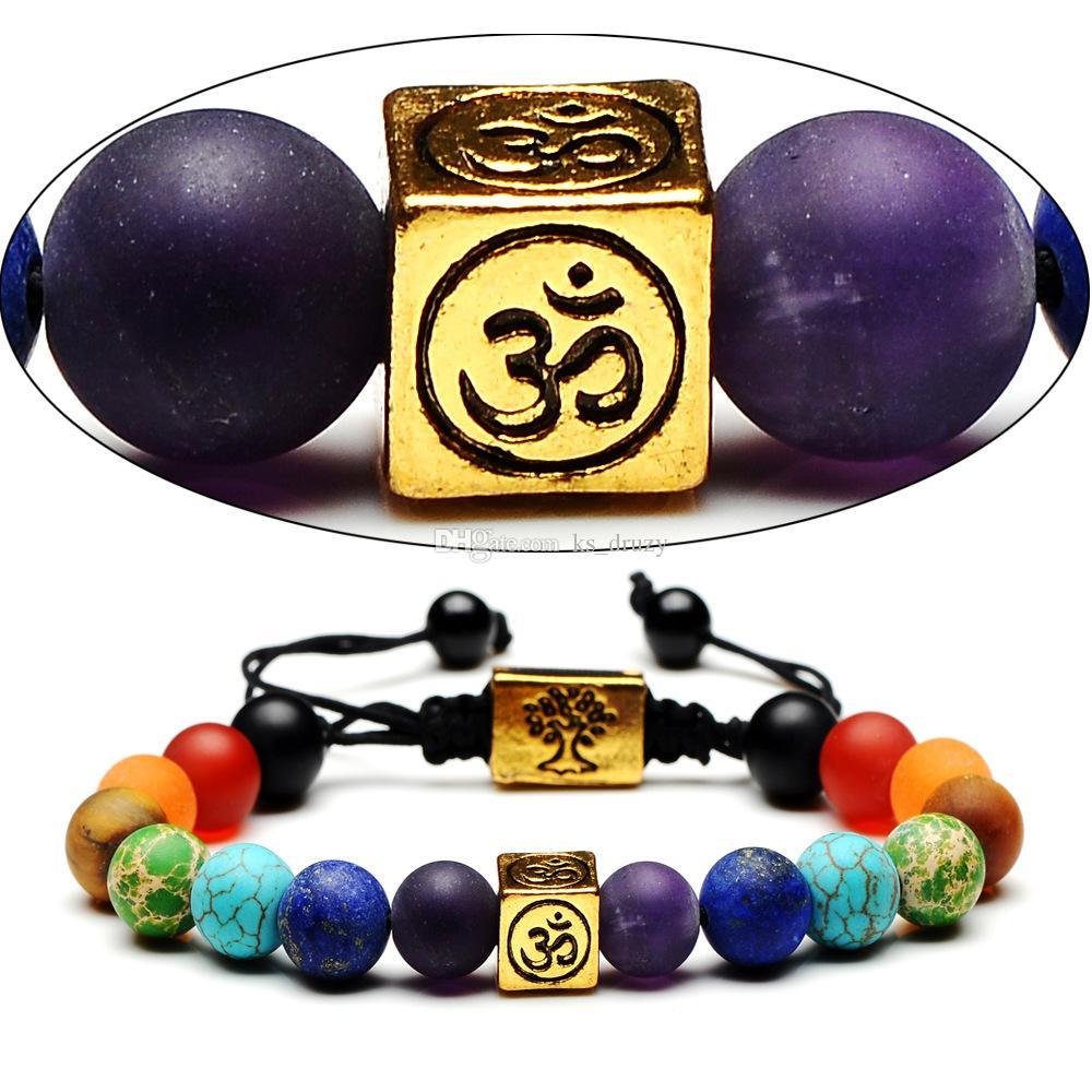 Fashion Square Tree of Life 7 Chakra Beads Women Men OM Yoga Buddha Bracelet Jewelry Gift