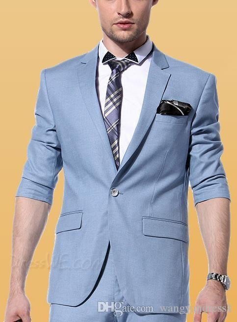 Hot Sale Custom Made Handsome Wedding Suits Tuxedos Sky Blue Formal ...