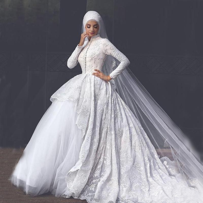 Großhandel Modest High Neck Lange Ärmel Muslim Brautkleider ...