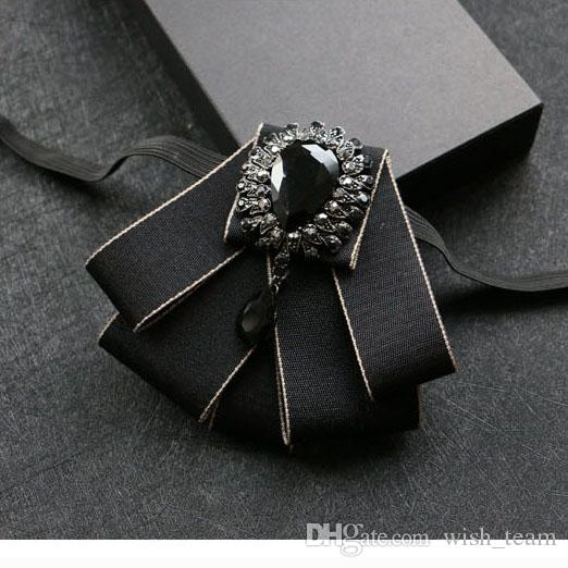 New Dress Man Collar Bow Tie Vintage Brooches Ribbon Crystal Woman Big Bowknot Wedding Shirts Accessories Fashion Jewelry