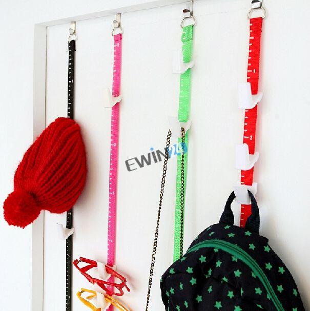 A estrenar ajustable sobre la puerta correas percha sombrero bolsa abrigo ropa organizador de rack 8 ganchos 100 unids