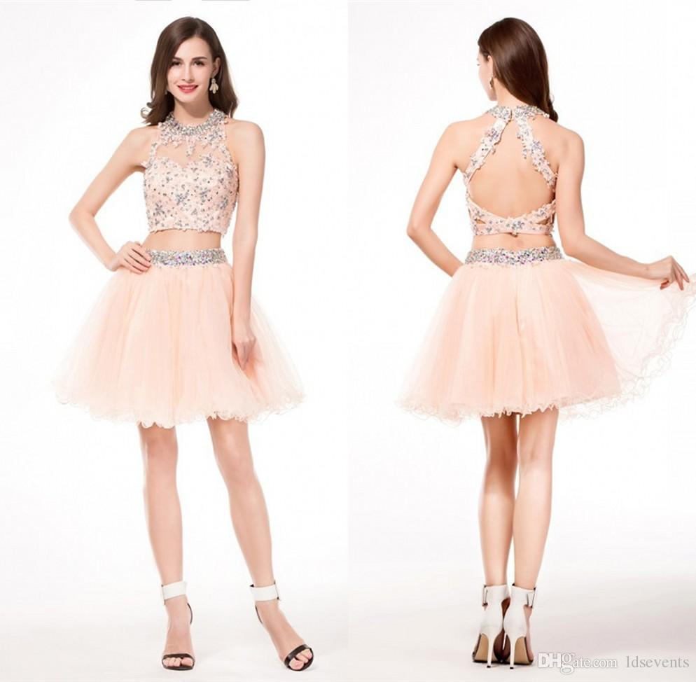 e4f2cfaaec910 Cheap Two Piece Homecoming Dresses Tulle Pleats High Quality Simple Made To  Order Sexy Lace Patterns 8th Grade Gowns Graduation For Girls Cheap Cute ...