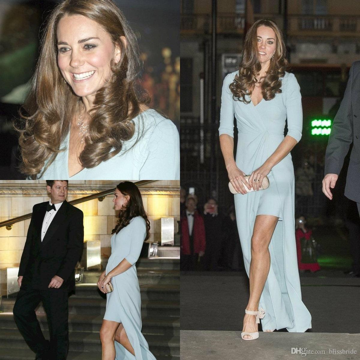 Großhandel Kate Middleton Schlitz Vorne Formale Kleider Abendkleider ...