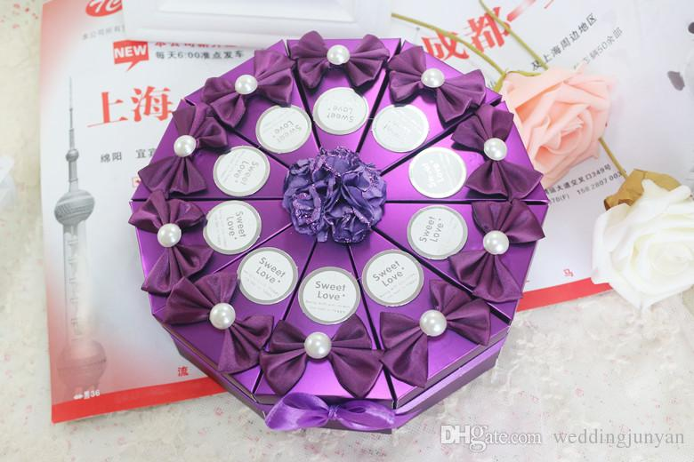 Cake Shaped Wedding Favor Candy Box Scrubs Paper Gift Bag With Artificial PE Rose Silk Flower For Wedding Party Supplies