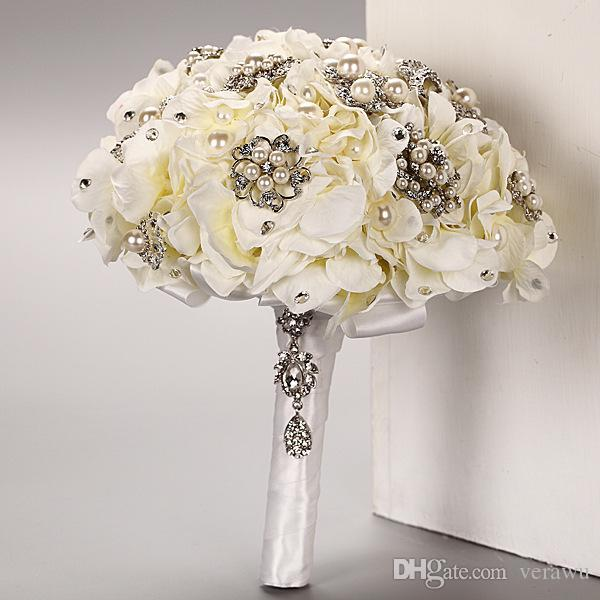 2015 Cheap Luxury Romantic Wedding Bouquets Flowers European Style Artificial Hydrangea With Pearl Crystal Bridal Handmade Petal