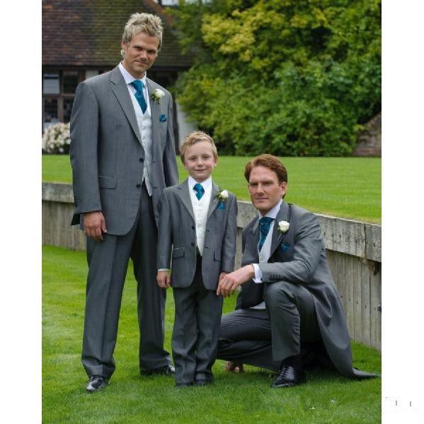 Fashion Grey suits Kid's Complete Designer Boys' Formal Occasion Jacket+Pants+Vest+Tie