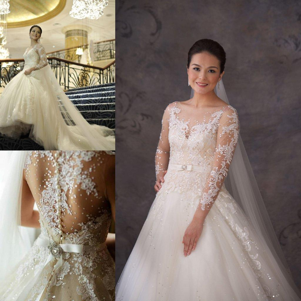 2017 Veluz Y Long Sleeve Lace Sheer Wedding Dresses A Line