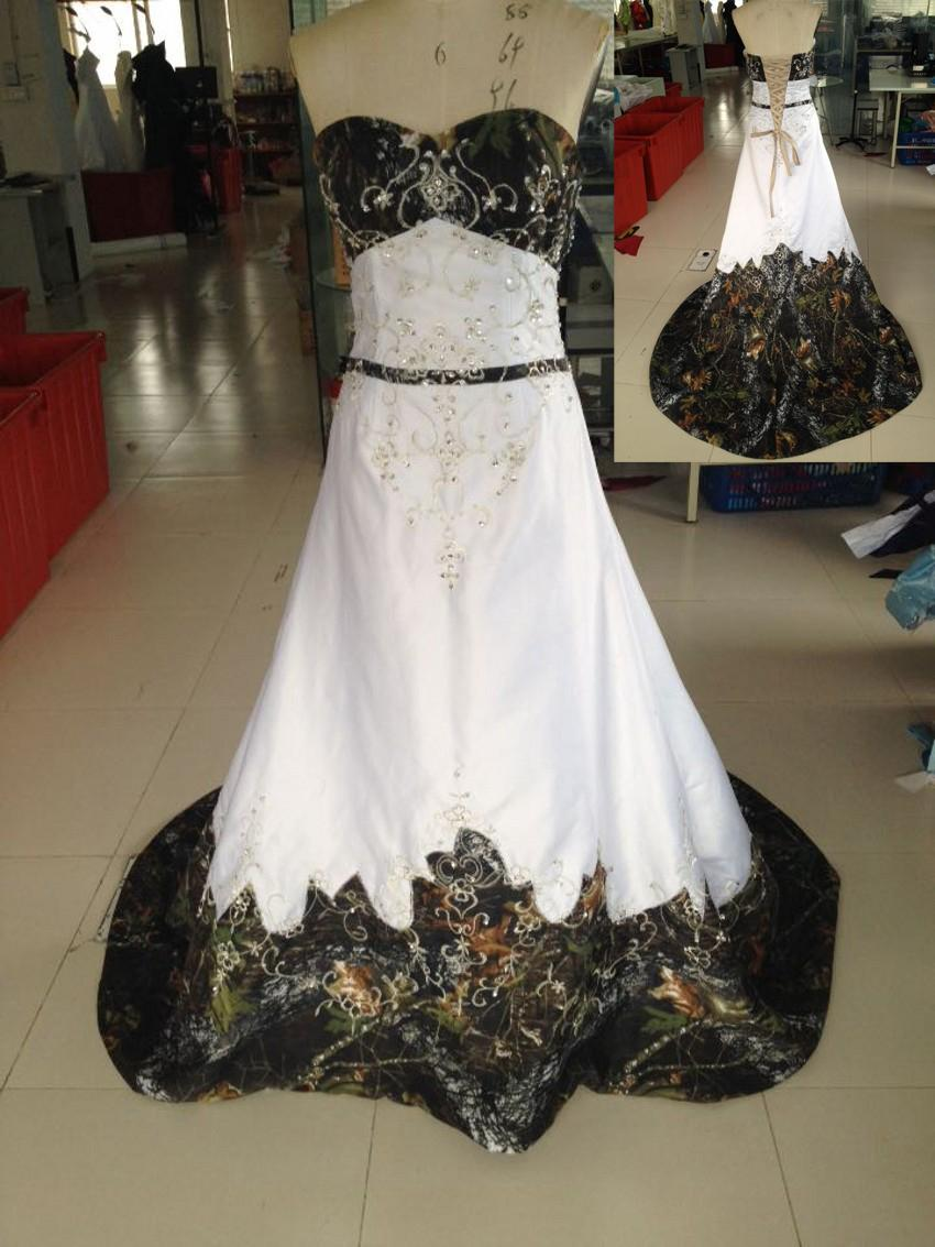 discount 2015 cheap camo wedding dress real picture sweetheart