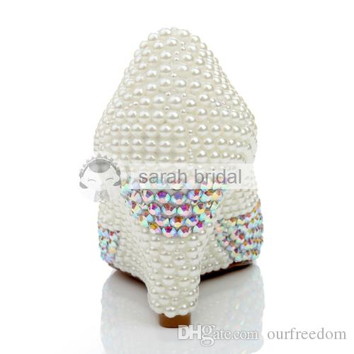 2019 Özel Düğün Ayakkabı Ile Rhinestone İnciler Yuvarlak Ayak Kama Topuk Deri Moda Fildişi kadının Parti Balo Ayakkabı Gelin LSDN1130 Için
