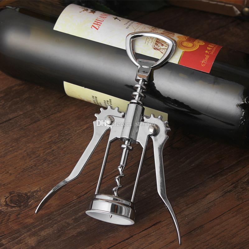 Stainless Steel Wine Bottle Opener Handle Pressure Corkscrew Red Wine Opener Kitchen Accessory Bar Tool Wing Corkscrew Opener WX9-117