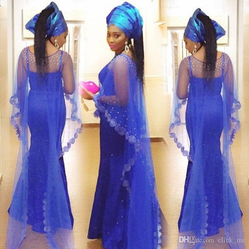 Evening Dresses With Jacket /Wraps Spaghetti Strap Beads Asoebi ...