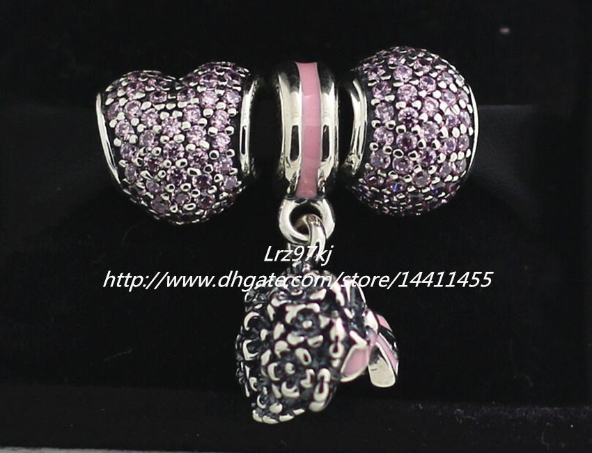 Braccialetti europei di fascino dei monili di stile di Pandora 2015 autunno 925 Charms in argento sterling e perle di vetro di Murano Set - NA032 Confezioni regalo