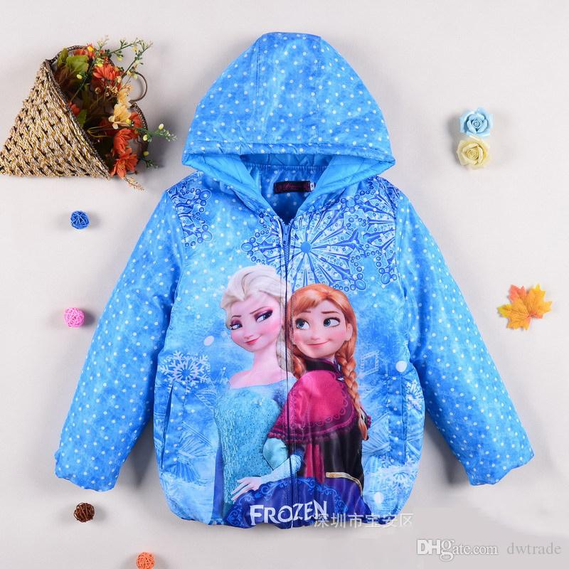 2017 Ems Freeship Girls Frozen Winter Warm Coats Blue & Red Dots ...