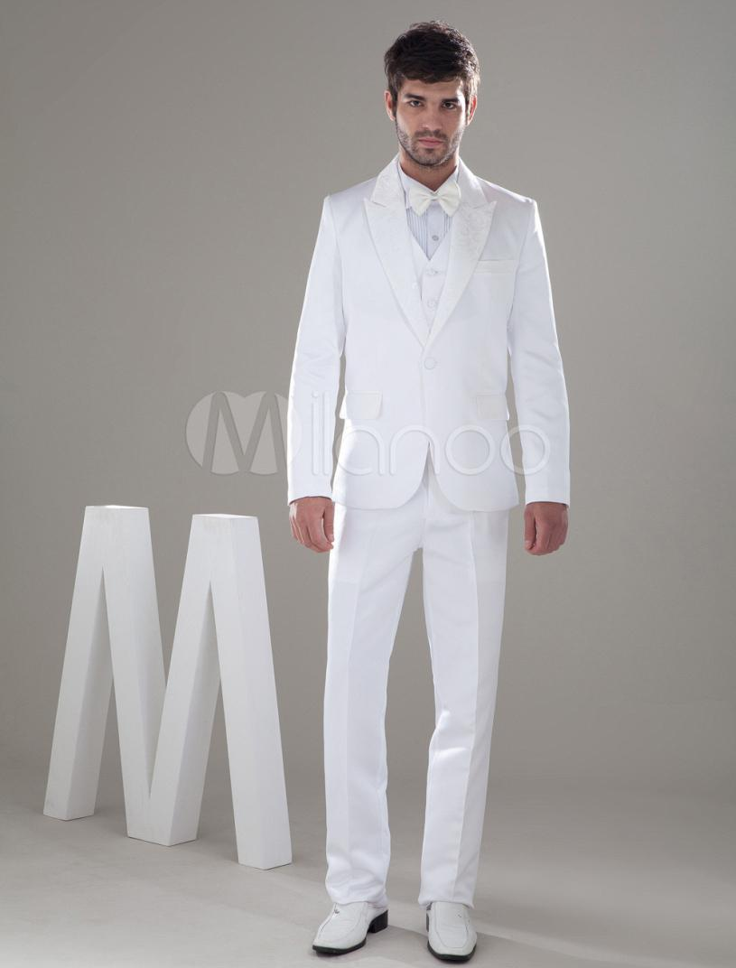 Tailored White Summer Wedding Men Suits Peak Lapel Grooms Formal ...