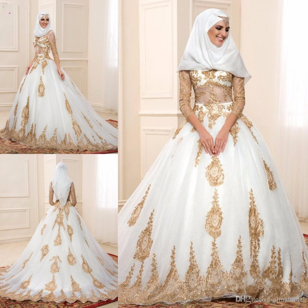 Muslim Gold Lace Wedding Dresses 2016 with Sheer Long ...