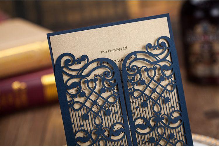 laser cut hollow customized weddingparty invitation card elegant dark navy cover with printable gold inserts wedding invitation paper wedding invitation - Customized Wedding Invitations