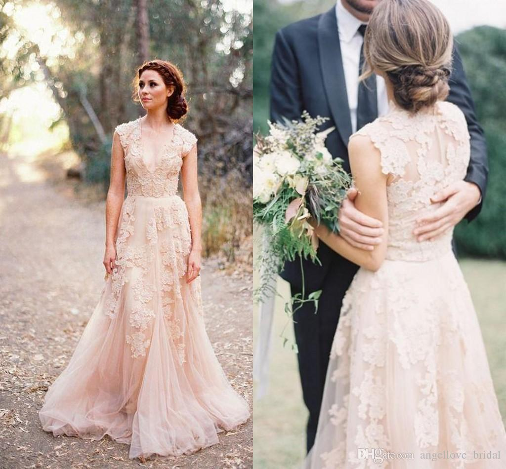 Pink Lace Applique Tulle Sheer Wedding Dresses 2016 Deep V Neck Cap ...