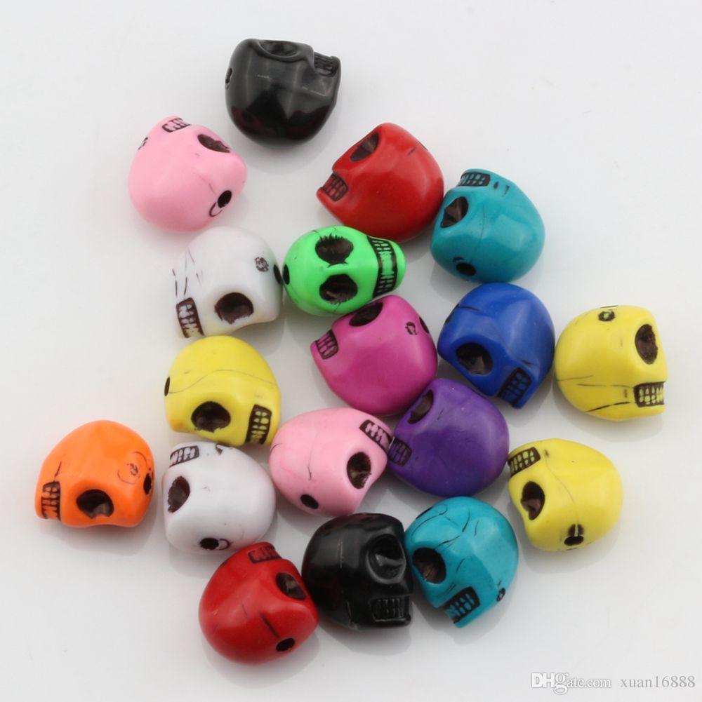 Caldo ! miscela di colore acrilico Skull distanziatore bordano 12MM misura il braccialetto di perline Gioielli fai da te