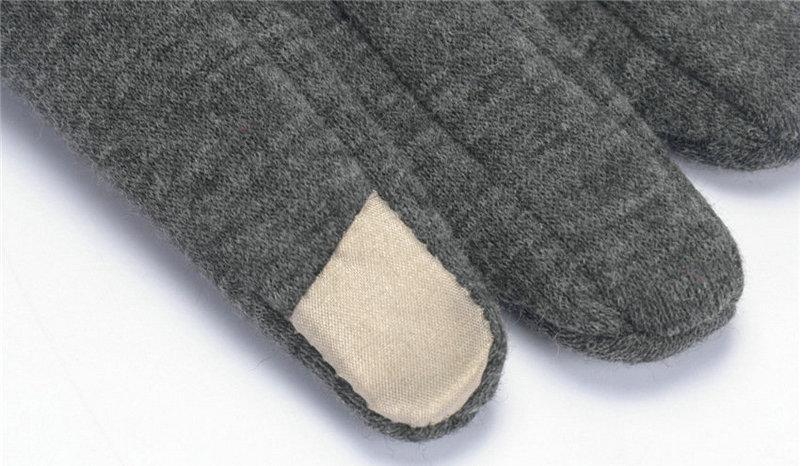 Перчатки женщины зима теплая сенсорный экран кружева хлопок симпатичные кнопки декор твердые взрослых перевернутый кашемир перчатки