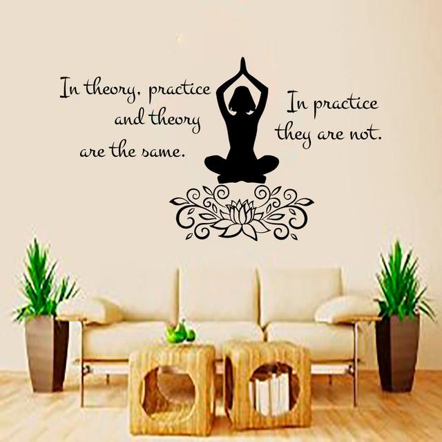 In Theory Practice And Theory Quote Wall Sticker Vinyl Removable Yoga Lotus  Pose Gymnast Wall Decals Wall Decals Nursery Wall Decals On Sale From  Bigagung, ...