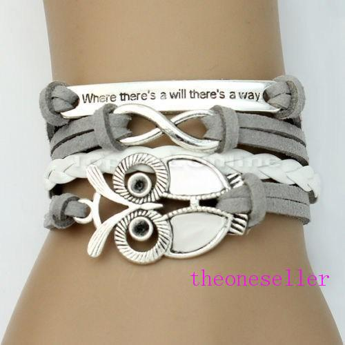 NEW arrived DIY Charm Jewelry fashion Leather Cute Infinity Bracelets Silver pick style Leather Bracelets owls stely