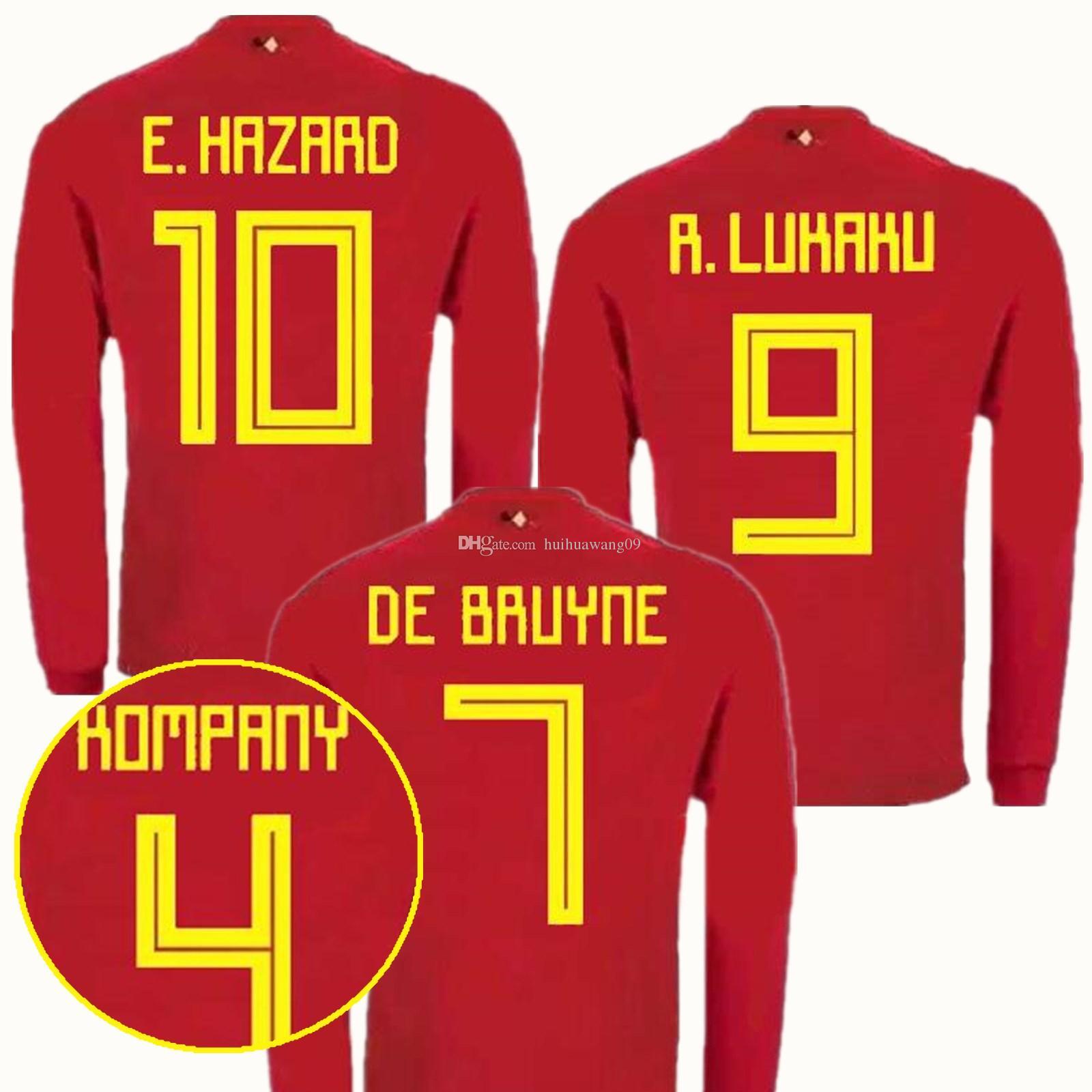 2018 Long Sleeve World Cup Belgium Jersey E. HAZARD De Bruyne Lukaku  Fellaini Mertens Courtois Kompany Soccer Jerseys Full Football Shirts  Maillot De Foot ...