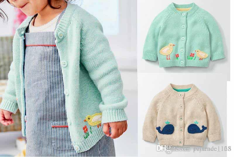 34ceb50fe3b2 Euro Fashion Style Girl Kids Cardigan Buttons Sweater Cartoon Dophin ...