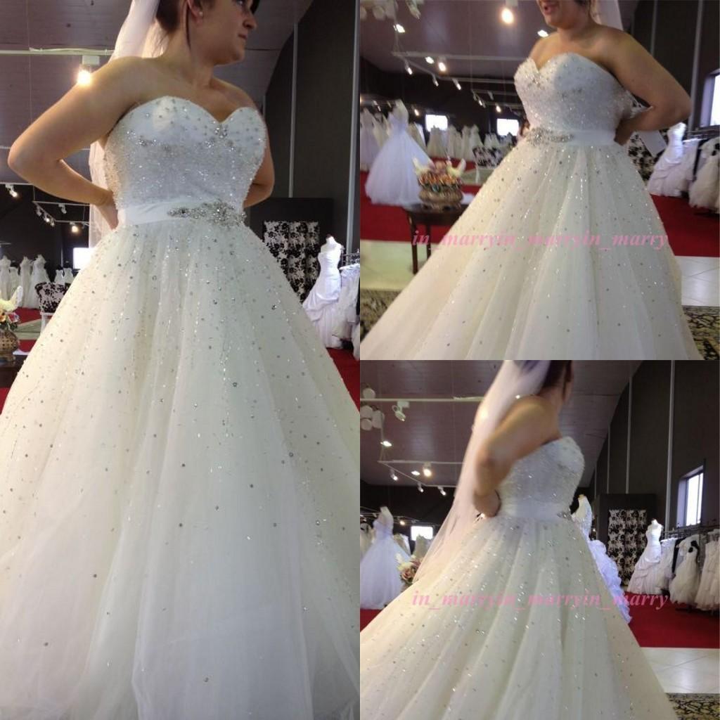 Discount Elegant Plus Size Wedding Dresses Sweetheart Backless ...