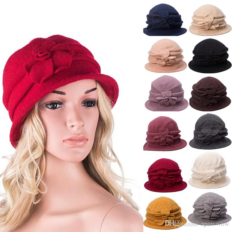 Gatsby 1920s Ladies Retro Flower Winter Warm Fedora Wool Cap Cloche ... 5ad92320ae4