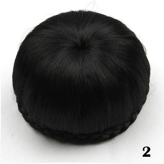 Synthetic Hair Clip In Hair Brown Black Braided Chignon Donut Roller Hairpiece Hair Bun Accessories for Women