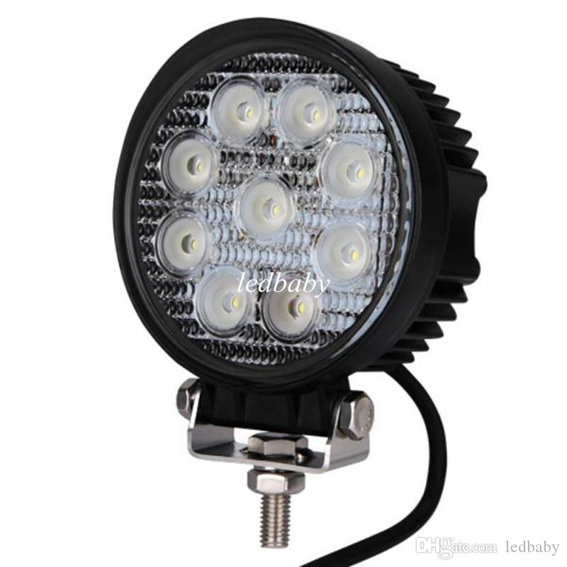 "12V 24V 4"" 4inch 27W Spotlight Floodlight car Tractor Truck SUV boat 4X4 4WD Jeep Offroad driving LED work light bulbs bar"