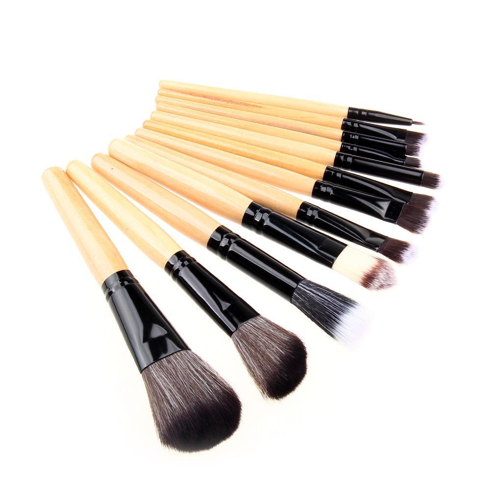 12шт/набор профессиональный бамбуковой ручкой макияж кисти кабуки порошок основа губ тени для век румяна косметический макияж инструменты с чехол